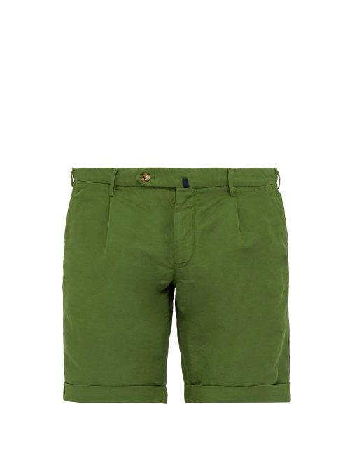 Matchesfashion.com Incotex - Slim Fit Linen Blend Chino Shorts - Mens - Green
