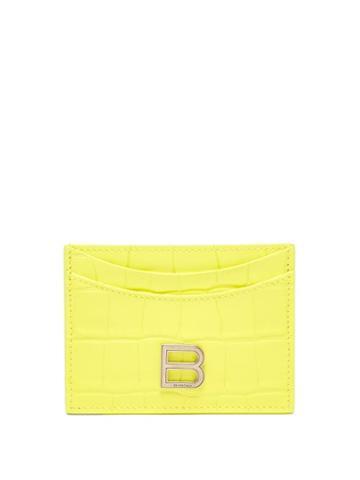 Balenciaga - Hourglass Cross-embossed Leather Cardholder - Womens - Yellow