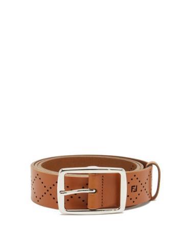 Matchesfashion.com Fendi - Ff-monogram Perforated Leather Belt - Mens - Tan