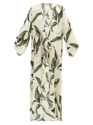 Matchesfashion.com Adriana Degreas - Floral-print Silk-satin Robe - Womens - Cream Print