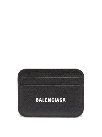 Balenciaga - Cash Logo-print Grained-leather Cardholder - Womens - Black