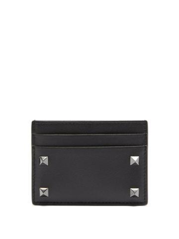 Matchesfashion.com Valentino Garavani - Rockstud Leather Cardholder - Mens - Black