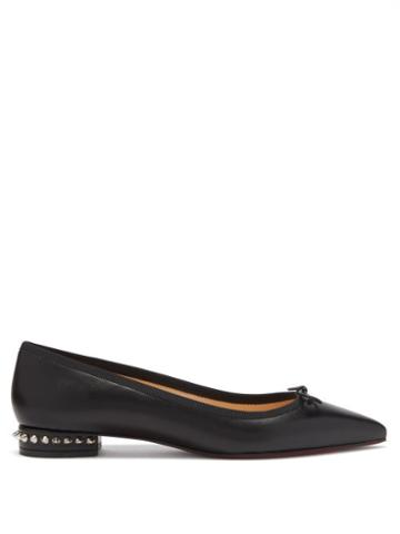 Matchesfashion.com Christian Louboutin - Hall Spike-embellished Leather Ballet Flats - Womens - Black
