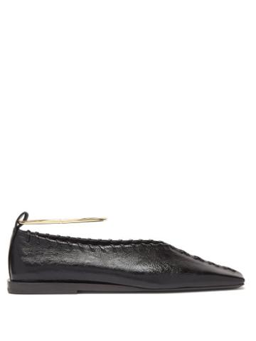 Matchesfashion.com Jil Sander - Whipstitched Square-toe Leather Ballet Flats - Womens - Black