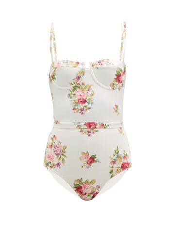 Matchesfashion.com Zimmermann - Honour Floral Print Balconette Swimsuit - Womens - Cream