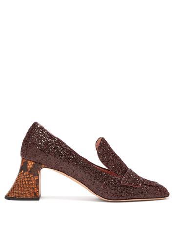 Rochas Pascal Glitter-embellished Block-heel Pumps