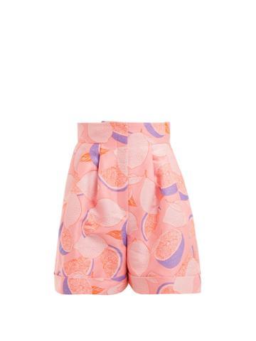 Vika Gazinskaya Lemon-print Jacquard High-rise Shorts