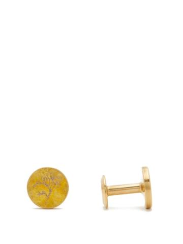 Matchesfashion.com Alice Made This - Freesia Round Patina Brass Cufflinks - Mens - Yellow
