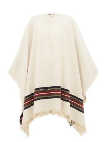 Matchesfashion.com Jacquemus - Fringed Stripe Poncho - Womens - Beige