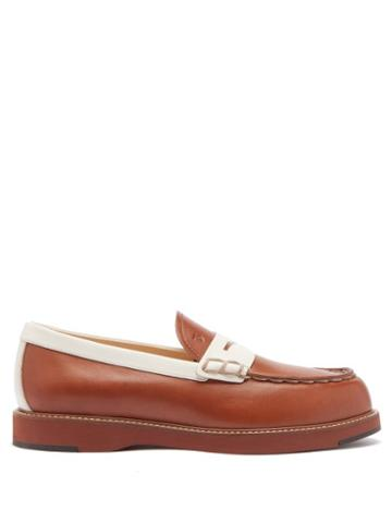 Matchesfashion.com Tod's - Bi-colour Topstitched Leather Loafers - Womens - Tan White
