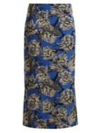 Raey Giant Floral-print Silk Pencil Skirt