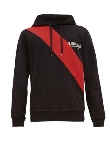 Matchesfashion.com Helmut Lang - Sash Print Logo Embroidered Hooded Sweatshirt - Mens - Black Multi