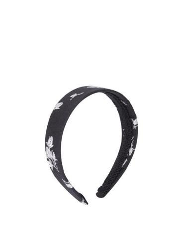 Matchesfashion.com Erdem - Floral Fil-coup Twill Headband - Womens - Black White