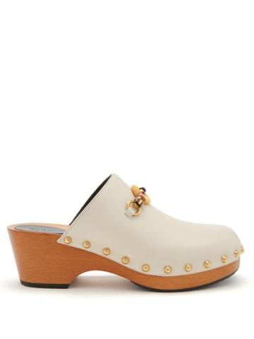 Gucci - Bamboo-buckle Leather Clogs - Womens - White