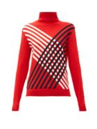 Matchesfashion.com Perfect Moment - Stripe Intarsia Roll Neck Merino Wool Sweater - Womens - Red