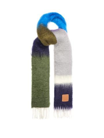 Loewe - Anagram-patch Striped Mohair-blend Scarf - Mens - Multi