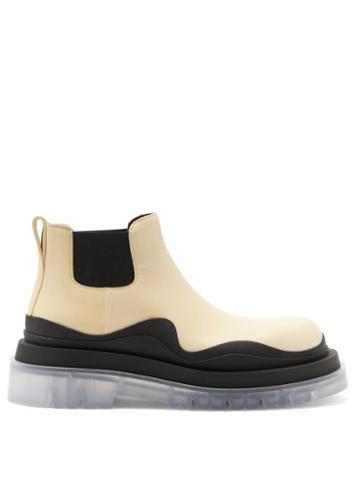 Matchesfashion.com Bottega Veneta - Bv Tire Leather Chelsea Boots - Womens - Cream