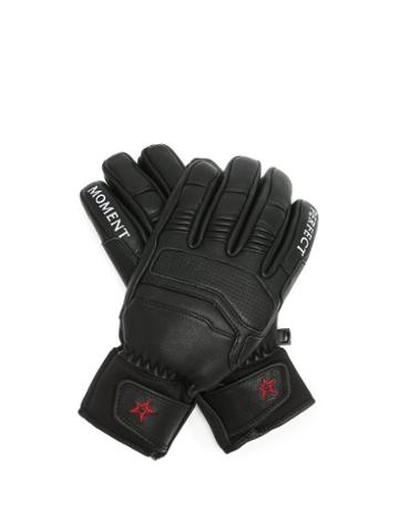 Matchesfashion.com Perfect Moment - Logo-embroidered Leather Ski Gloves - Womens - Black