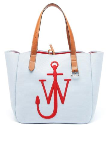 Matchesfashion.com Jw Anderson - Belt Embroidered-anchor Canvas Tote Bag - Mens - Blue Multi