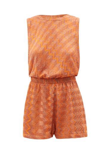 Missoni Mare - Zigzag-jacquard Knit Playsuit - Womens - Orange