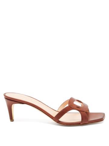 Matchesfashion.com Rupert Sanderson - Emblem Pebble-cutout Leather Mules - Womens - Brown