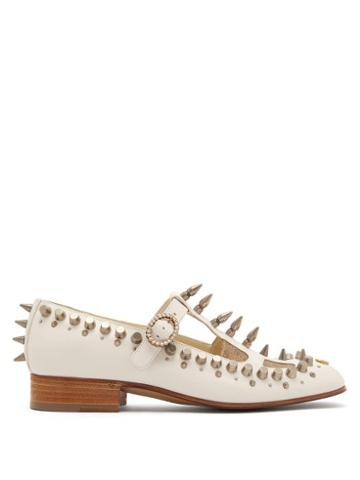 Matchesfashion.com Gucci - Marcel Studded Leather Loafers - Womens - White