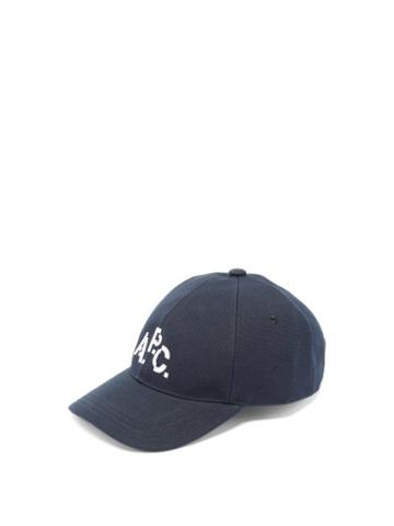 Matchesfashion.com A.p.c. - Aaron Logo Embroidered Cotton Cap - Mens - Navy