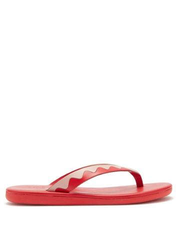 Matchesfashion.com Ancient Greek Sandals - Ammos Upcycled-leather Flip Flops - Womens - Red Multi