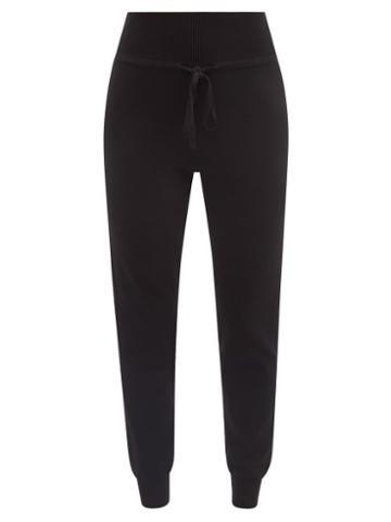 Live The Process - Drawstring-waist High-rise Knit Track Pants - Womens - Black
