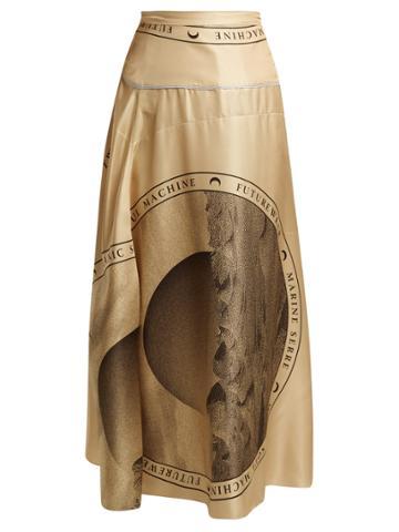 Marine Serre Moon-print Silk Midi Skirt