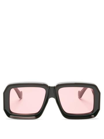 Matchesfashion.com Loewe Paula's Ibiza - Oversized Square Acetate Sunglasses - Womens - Black