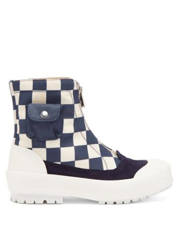 Matchesfashion.com Jw Anderson - Zipped Check Cotton-canvas Boots - Womens - Blue White