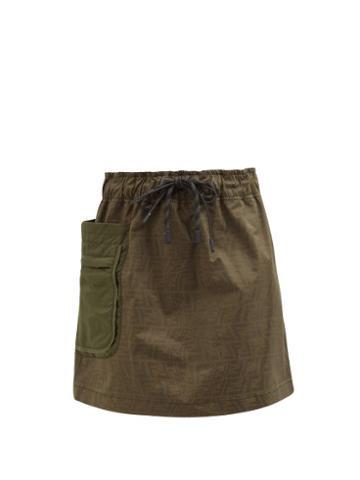 Fendi - Ff Fisheye-jacquard Denim Skirt - Womens - Green