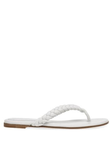 Matchesfashion.com Gianvito Rossi - Marley Leather Flip Flops - Womens - White