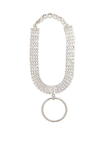 Matchesfashion.com Alessandra Rich - Crystal Ring Pendant Choker - Womens - Crystal
