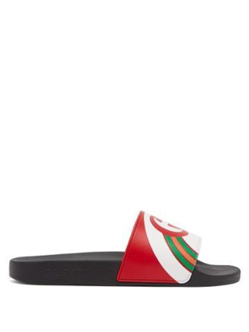 Matchesfashion.com Gucci - Pursuit Logo Print Slides - Mens - Red Multi