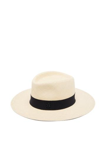 Matchesfashion.com Maison Michel - Charles Grosgrain-trim Straw Panama Hat - Womens - Navy