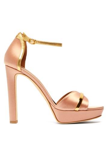 Matchesfashion.com Malone Souliers - Miranda Satin Platform Sandals - Womens - Pink Gold