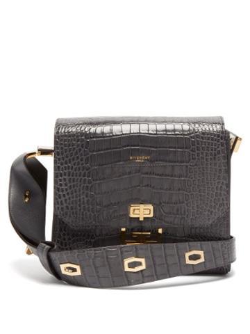 Matchesfashion.com Givenchy - Eden Medium Crocodile Effect Leather Messenger Bag - Womens - Grey