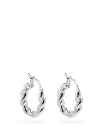 Matchesfashion.com Bottega Veneta - Twisted Sterling-silver Hoop Earrings - Womens - Silver