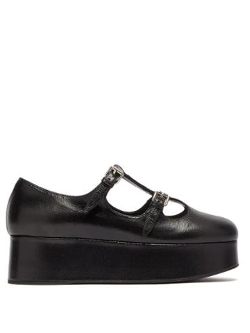Matchesfashion.com Miu Miu - Crackled Leather Mary Jane Flatforms - Womens - Black
