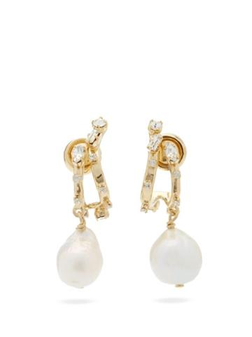 Matchesfashion.com Givenchy - Crystal-embellished Baroque-pearl Drop Earrings - Womens - Gold