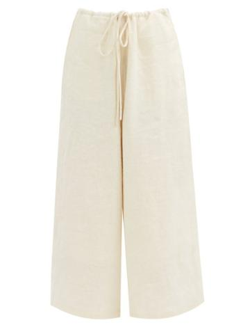 Matchesfashion.com Lauren Manoogian - Dormer Cropped Wide-leg Linen-blend Twill Trousers - Womens - Cream
