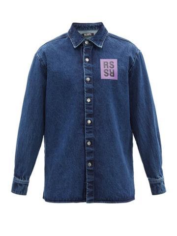 Matchesfashion.com Raf Simons - Logo-patch Denim Shirt - Mens - Blue