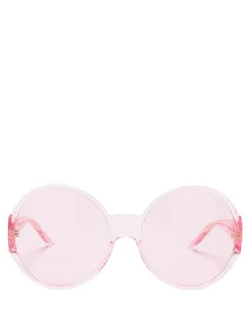 Gucci - Oversized Round Acetate Sunglasses - Womens - Pink