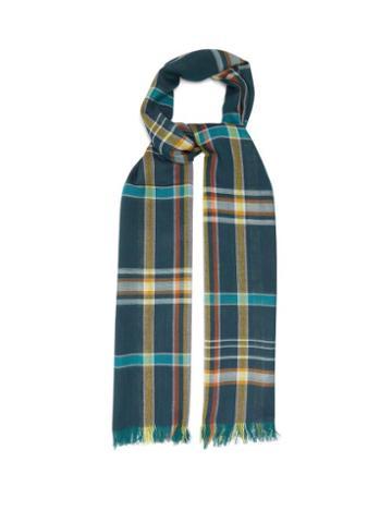Matchesfashion.com Johnstons Of Elgin - Fringed Check Wool Scarf - Womens - Blue Multi