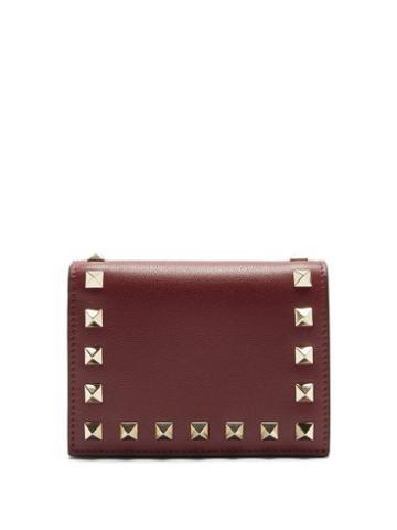 Matchesfashion.com Valentino Garavani - Rockstud Leather Wallet - Womens - Burgundy