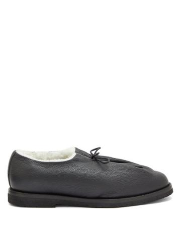 Matchesfashion.com Jacques Soloviere - Lace-up Leather And Shearling Loafers - Mens - Black