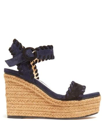 Matchesfashion.com Jimmy Choo - Abigail 100 Suede Wedge Sandals - Womens - Black Navy