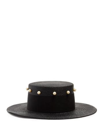 Federica Moretti Liz Faux-pearl Embellished Straw Hat
